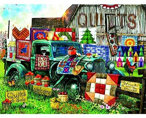 Zimal DIY Diamond Embroidery Nature 5D Home Quilts Tractor Picture Full Round Rhinestones Mosaic Needlework Hobby Home Decoration 11.8 X 15.8 Inch