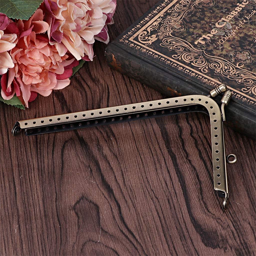 chefensty Antique Bronze L Shape Metal Purse Bag Frame Kiss Clasps Locks Handbag Handle