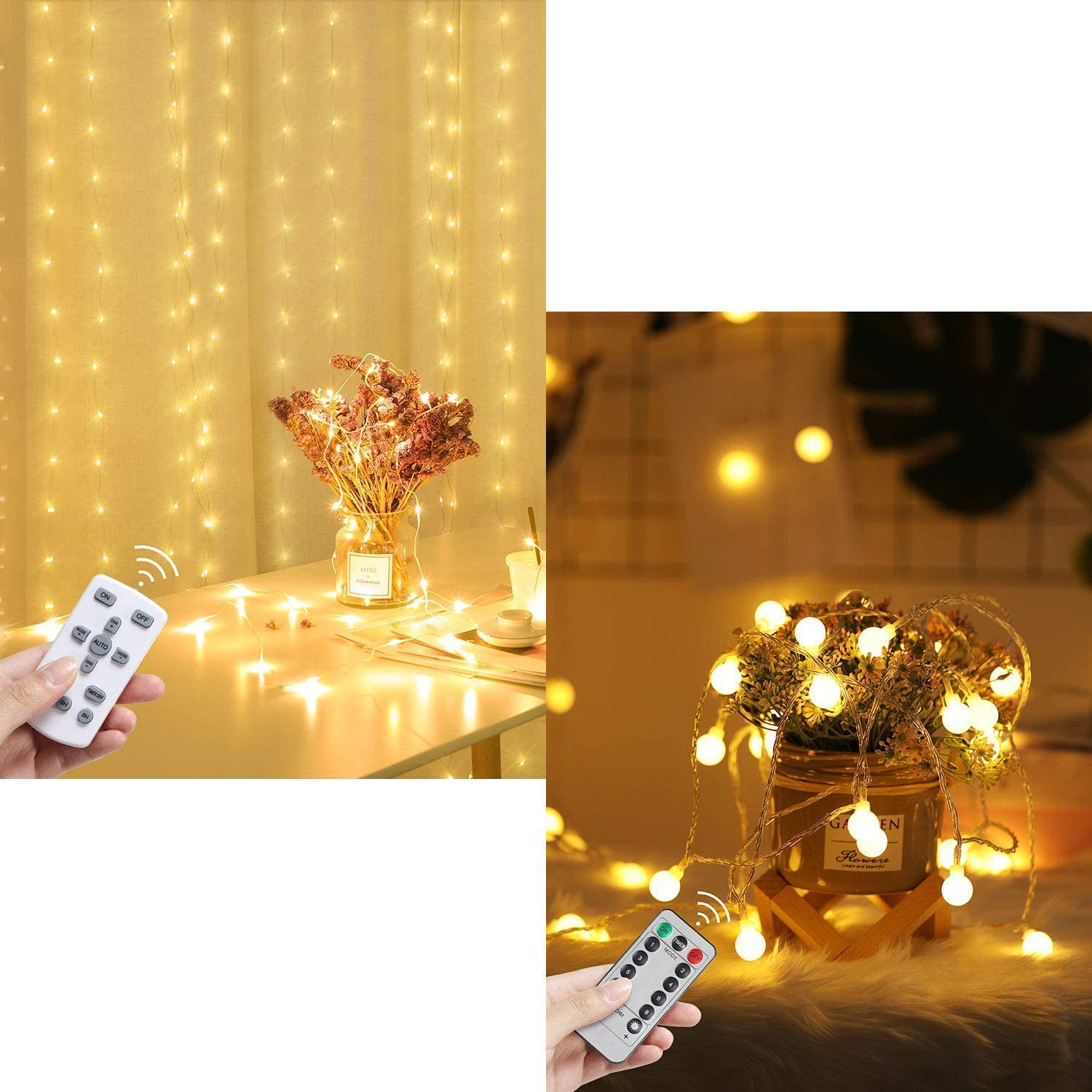 540 LED Fairy Window Curtain String Light with Remote | 2 x 100 LED Globe String Lights Battery Operated Waterproof