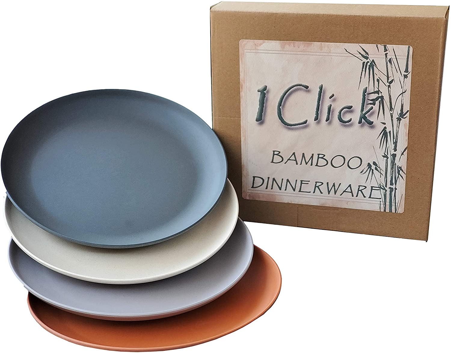 1 Click Bamboo Fiber Salad/Dessert Plates, Set of 4, Multicolor, Modern Bamboo Dinnerware, for Indoor and Outdoor events