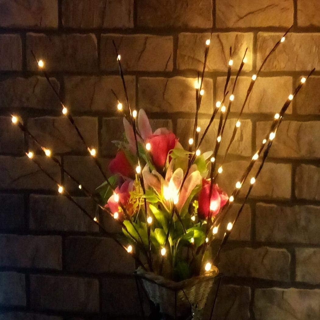 LEANO 20 LED Bulb Branch Lights for Vases, Willow Branch Lights Indoor, Decorative Indoor Lights for Home Christmas Party - Battery Indoor String Lights