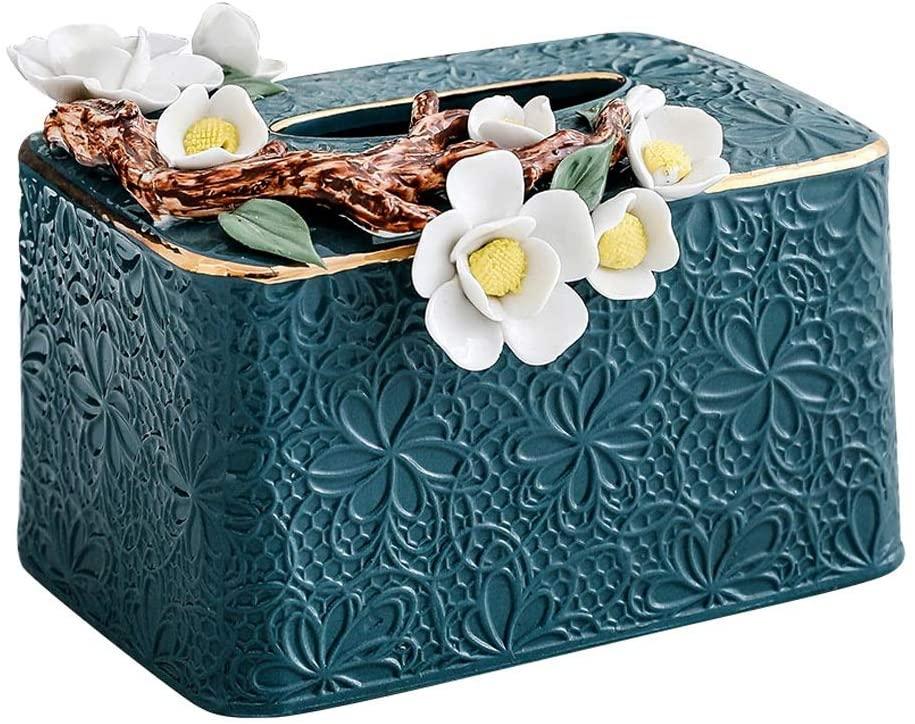 Decorative Tissue Box Holder Napkin Holder with Handmade Pinch Flowers, Stylish Ceramic Napkin Organizer Pumping Paper Dispenser Facial Tissue Holder for Dresser Bathroom Bedroom Home Office Car