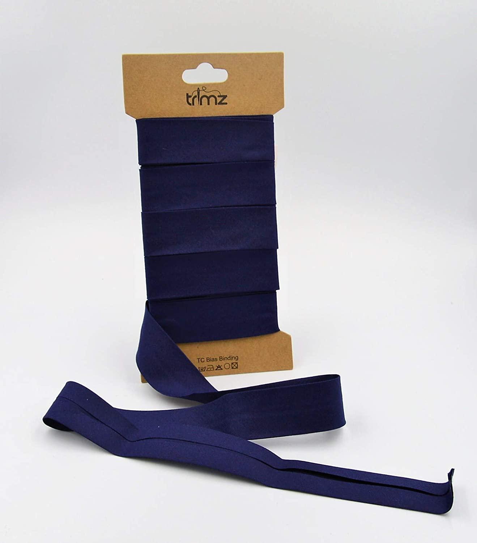 Trimz Poly Cotton Bias Binding, 25mm x 5m, Navy