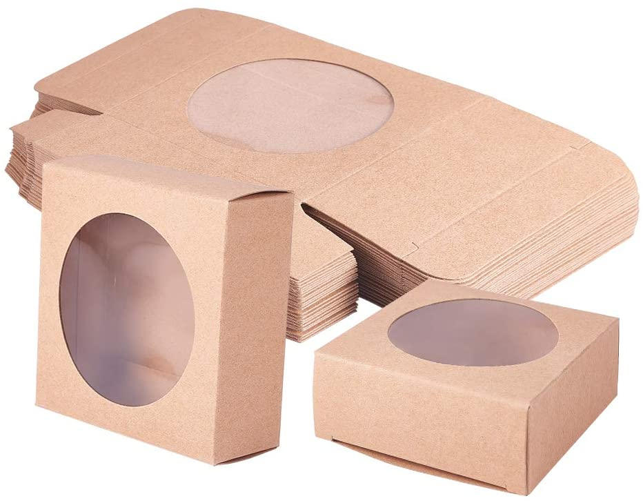 BENECREAT 24 Packs Brown Kraft Square Paper Boxes Gift Wrapping Box with Round Clear Window 3x3x1.2 for Homemade Soap, Party Favor Treats and Jewelry Packaging