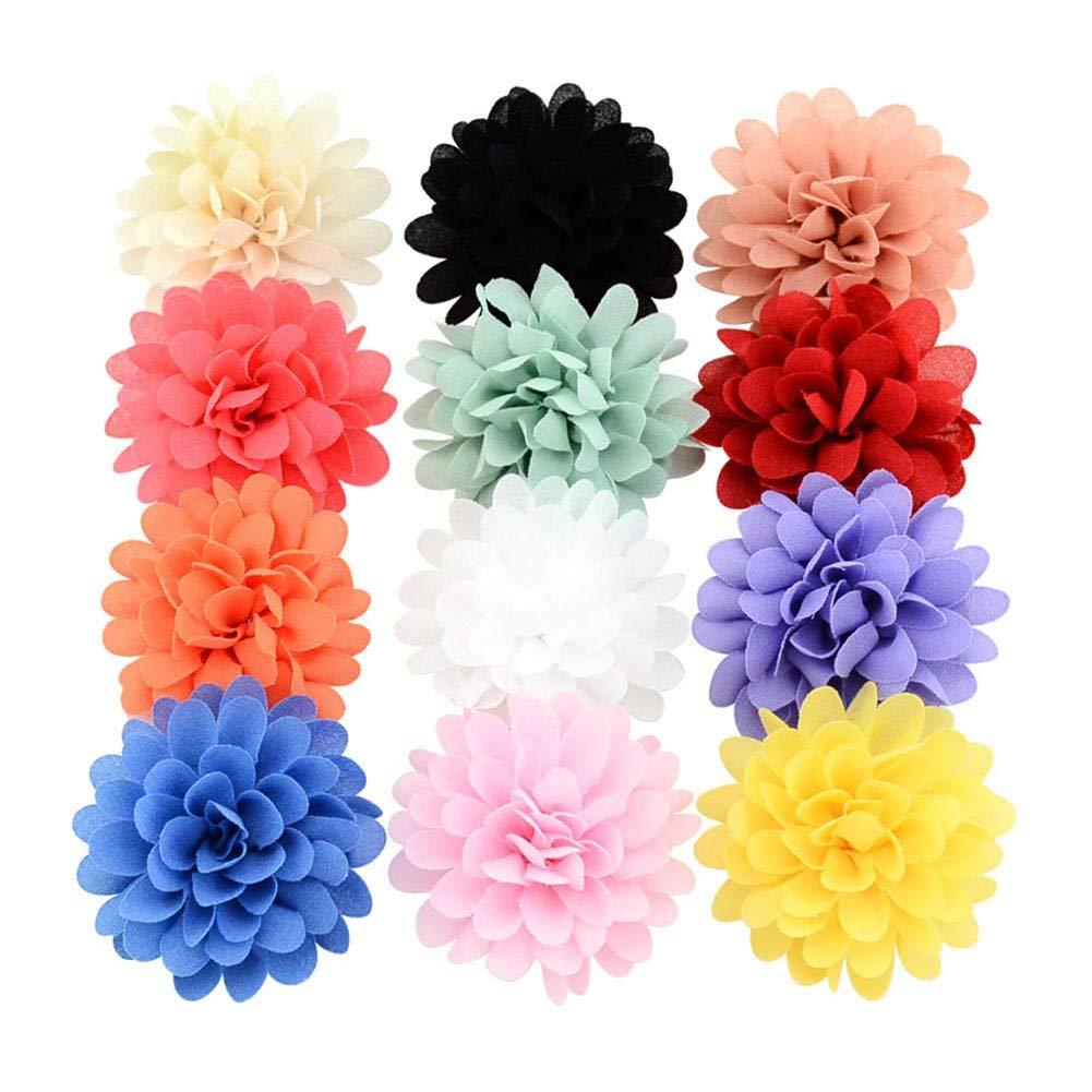 Opopark 12Pcs Baby Girls Bows Soft Chiffon Flower Petals Hair Clip Girls Toddler Babies Hairpin Kids Girls Hair Accessories