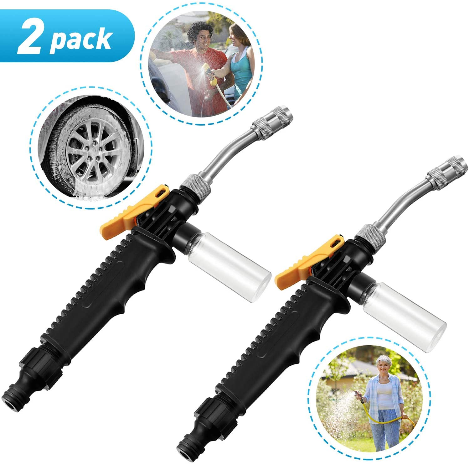 2 Pieces 2-in-1 High Pressure Washer 2.0 with Foaming Bottle High Impact Washing Wand Extendable Power Washing Wand Detachable Water Hose Nozzle for Wood Brick Concrete Plastic Glass Clean, 13.8 Inch
