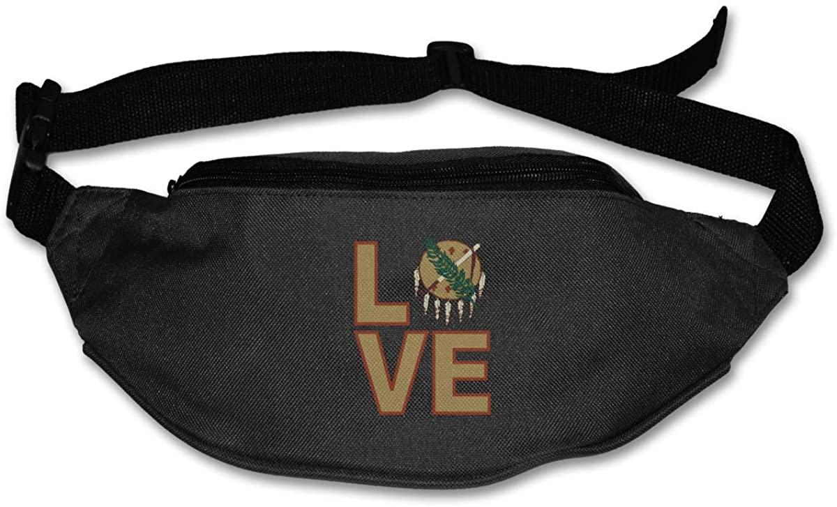 Love Oklahoma State Flag Element Design Unisex Waist Pack Bag Belt