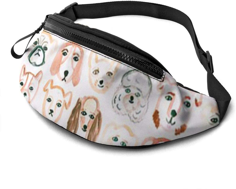 Funng dog pattern Fanny Pack for Men Women Waist Pack Bag with Headphone Jack and Zipper Pockets Adjustable Straps