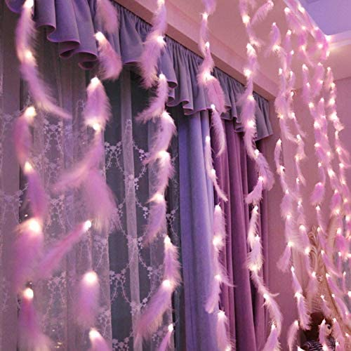 10ft 300 LED DIY Feather Curtain Lights 8 Modes, String Window Curtain Lights for Bedroom Outdoor Wedding Christmas Children Room Decor (Yellow)