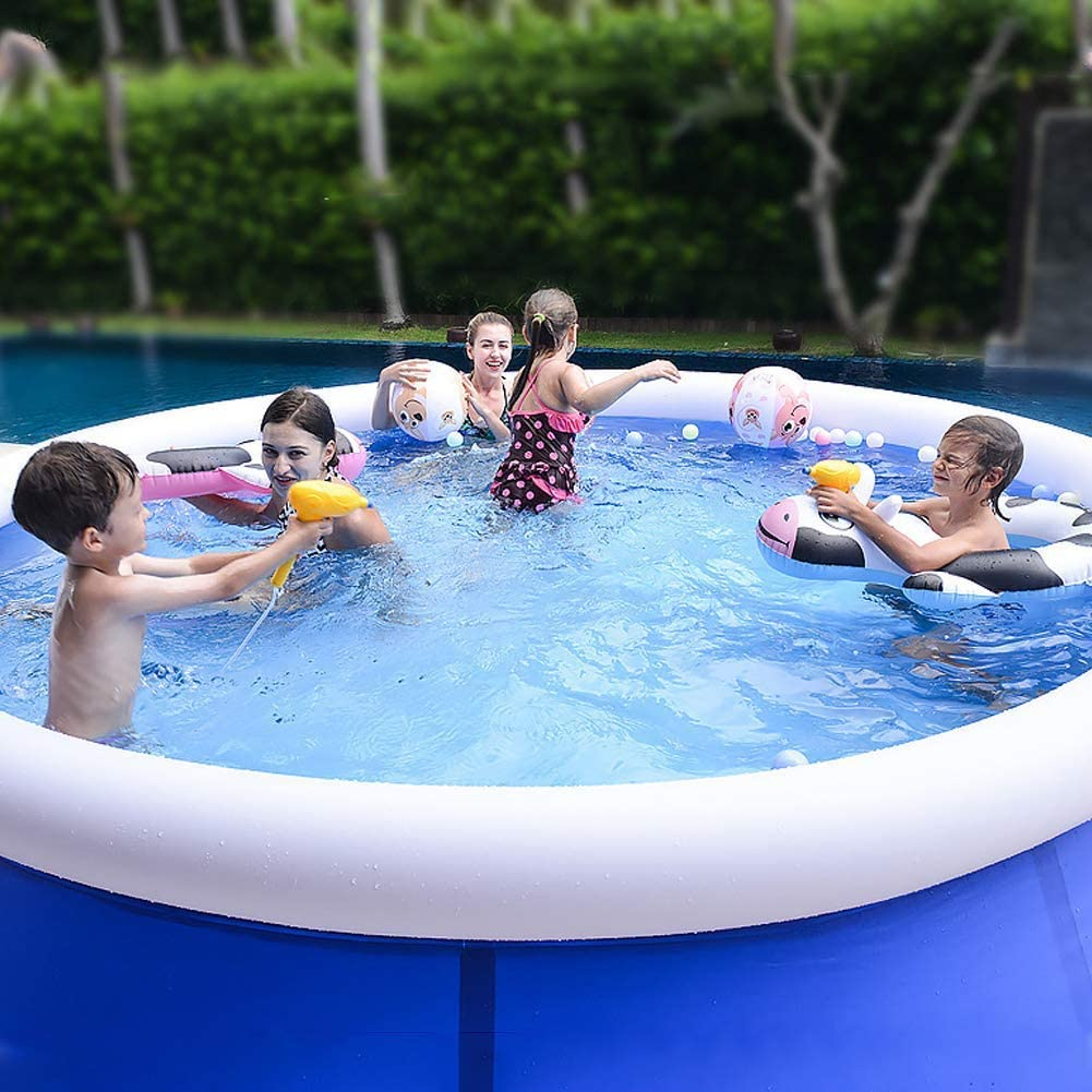 LI&muzi Portable Inflatable Swimming Pool Above Groud, Family Outdoor Backyard Top Ring Blow Up Pools for Kids and Adults,L