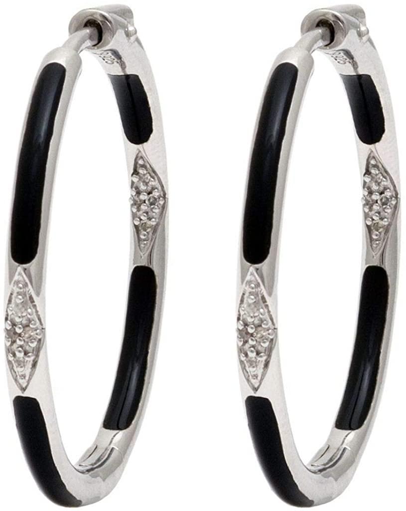 925 Sterling Silver Hoop Single Cut Pave Set 0.06 dwt Diamond Earrings