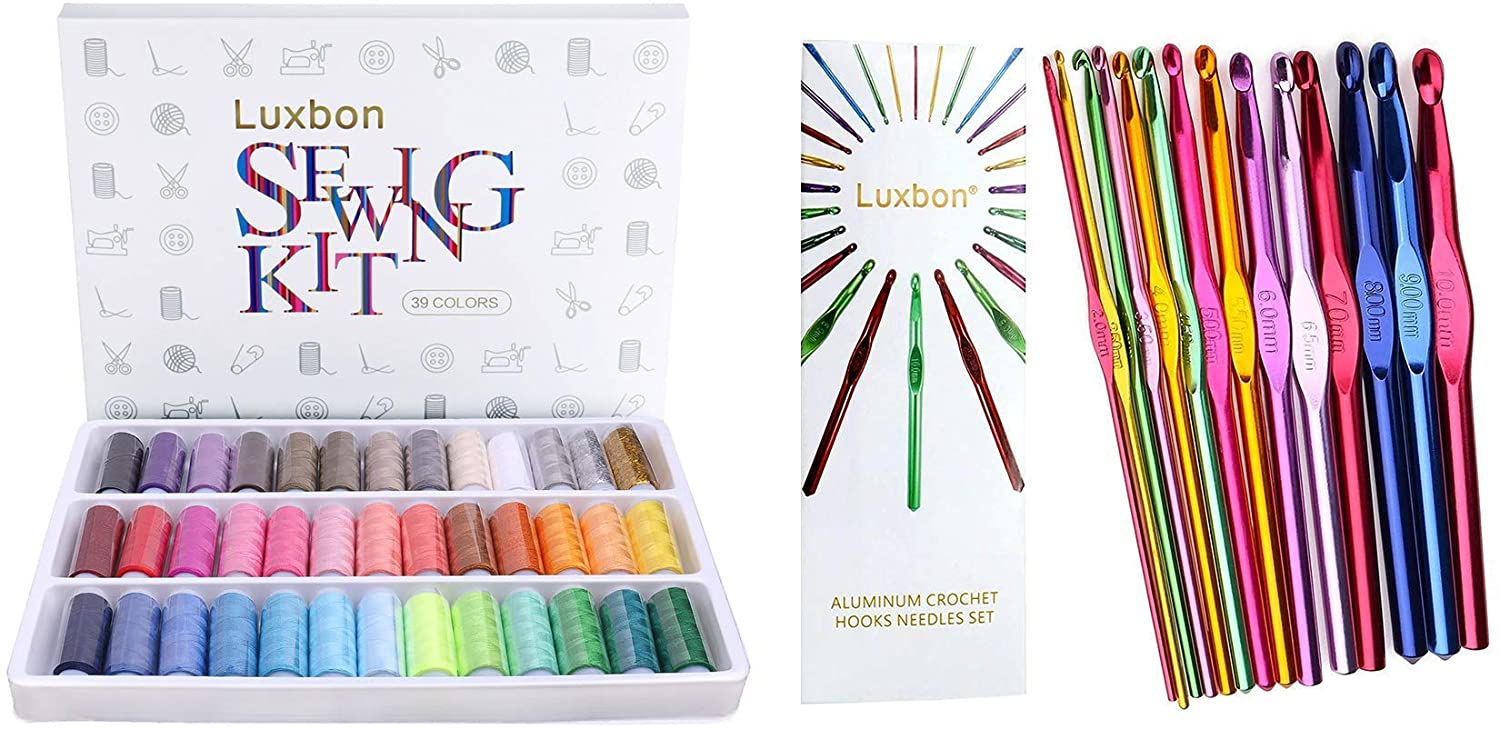 Luxbon 39 Spools Sewing Threads and 14 Sizes Crochet Hooks 2mm-10mm