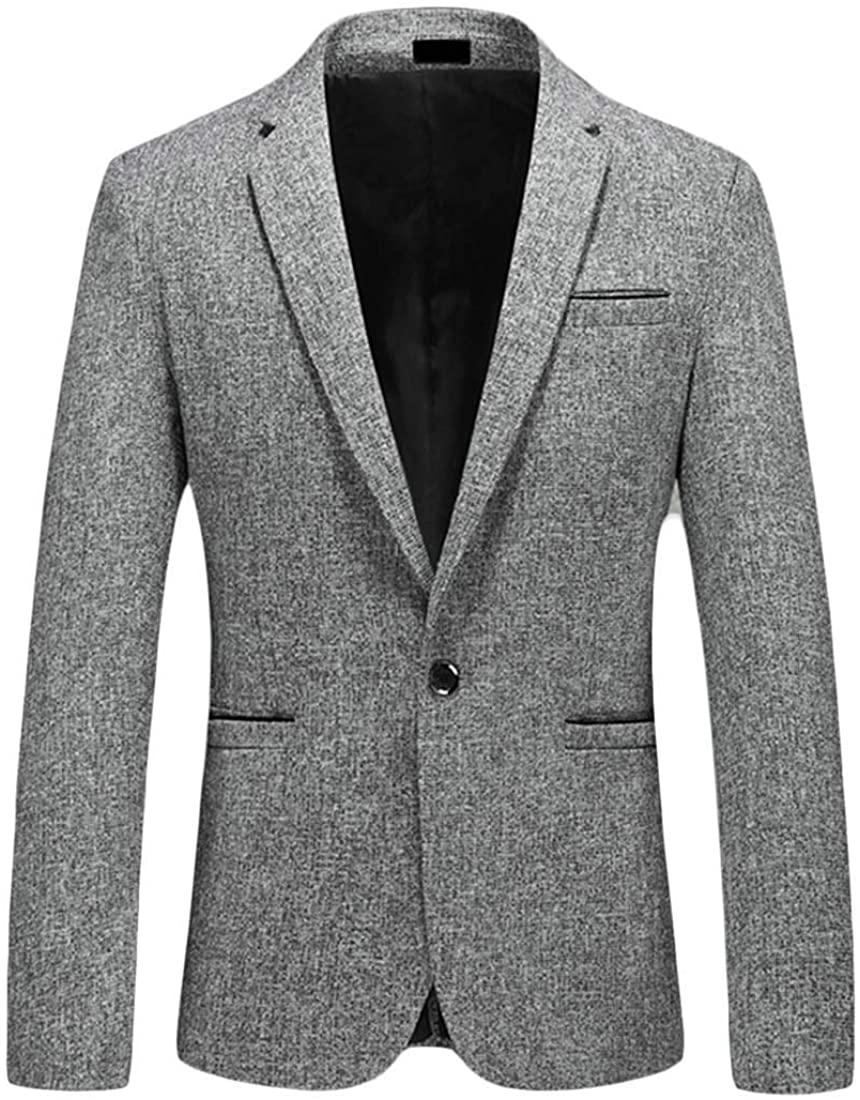 Jotebriyo Men Casual Business Autumn Winter 1 Button Slim Fit Dress Blazer Jacket Suit Coat