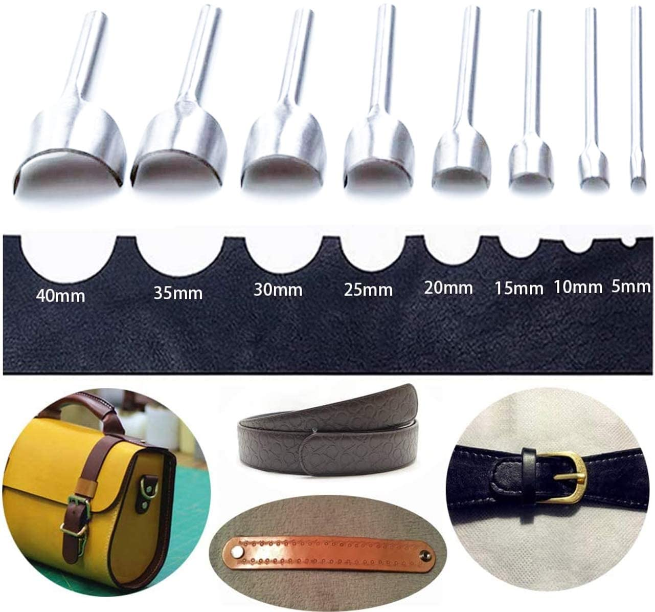 8 Pcs Leather Craft Tools Half-Round Cutter Punch Set 5-40 mm for Crafting Strap Belt DIY Craft Handwork Project