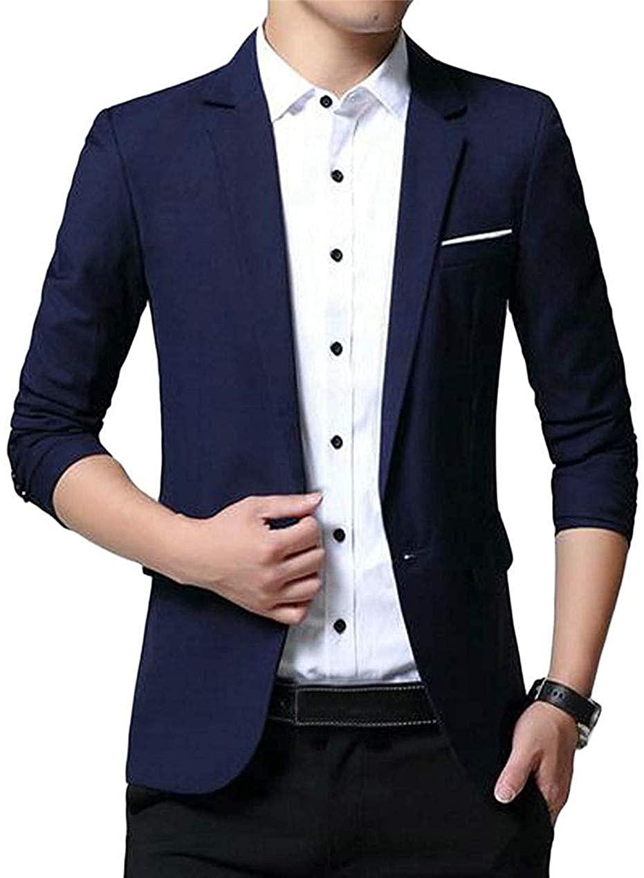 Men Wedding Party Solid Color Slim Casual Business Dress Blazer Jacket Suit Coat