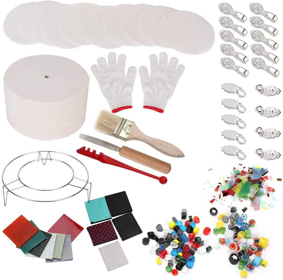 Glass Kilns, Arts Crafts Fusing Glass Kilns Microwave Kiln Set Sewing DIY Jewelry Tools 14PCS/Set(Big)
