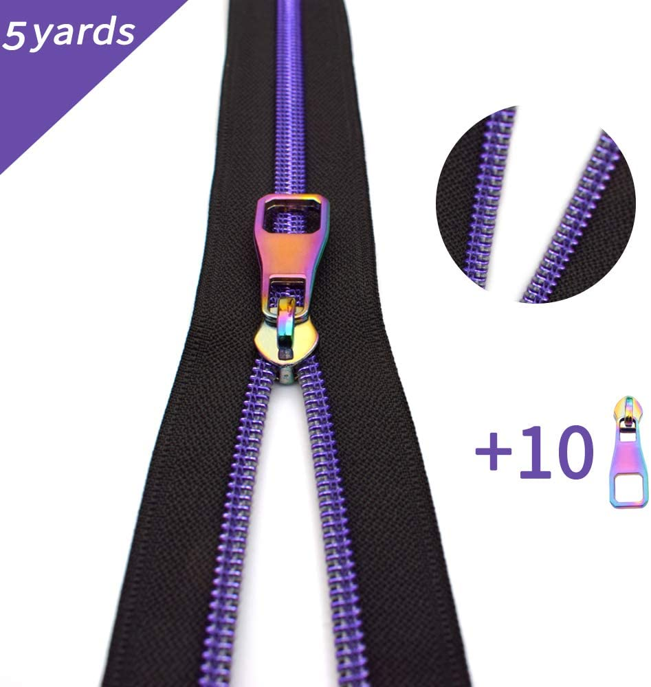 Nylon Coil Zippers by The Yard #5-Long Zippers for Sewing Purple Metallic Teeth Black Tape 5 Yard with 10PCS Rainbow Slider-VOC Zipper for Tailor Crafts(Black Tape)