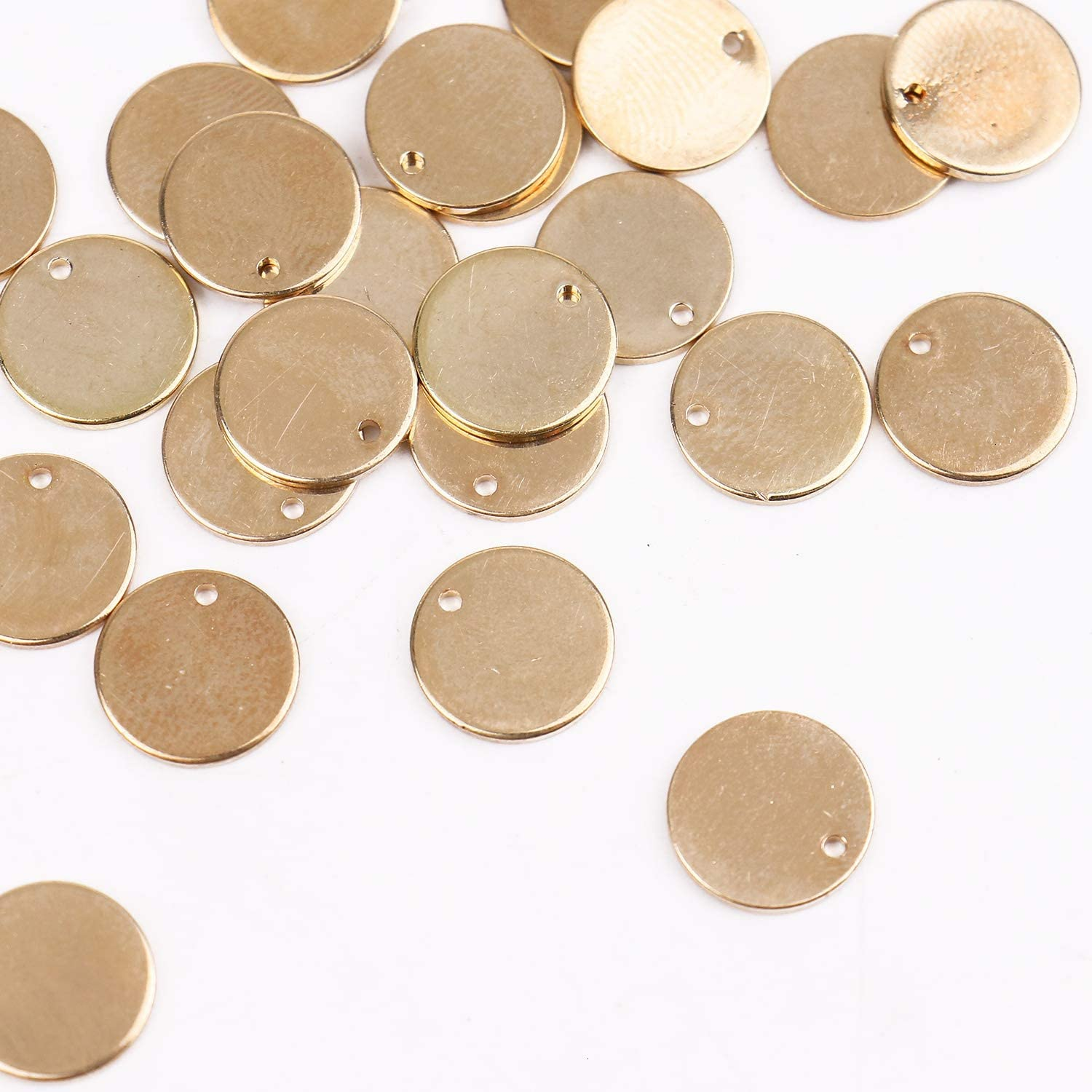 Pomeat 30 Pcs 12mm Small Circle Brass Stamping Blank Tags Pendant with Hole for Jewelry Making,Gold Color