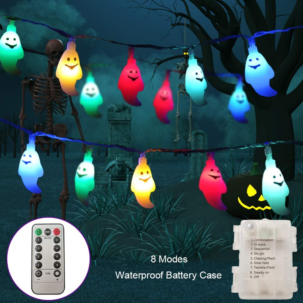 Halloween String Lights, 30 LEDs Ghost Light with Remote, 8 Lighting Modes, Timer and Dimmable, Battery Powered Waterproof LED Halloween Lights for Halloween Decorations Outdoor Indoor (Multicolor)