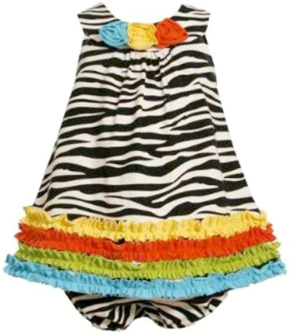 Bonnie Jean Baby Girls Zebra Rusching Dress, Black/White, 0-3 - 6-9 Months