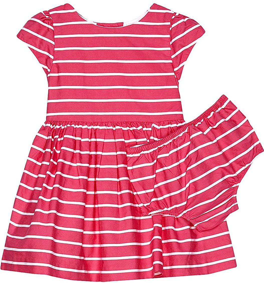 Ralph Lauren Striped Fit & Flare Girls Dress & Bloomer Pink/White