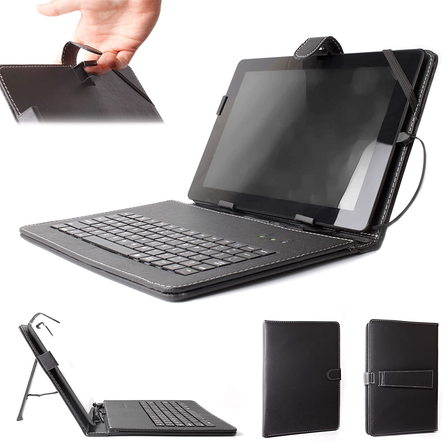 DURAGADGET Black Faux Leather Protective Case w/QWERTY Micro USB Keyboard - Compatible with GoClever Aries 101 TAB M1042   Orion 100 R1041   Orion 102 R1042BK & Terra 101 A1021 Tablets