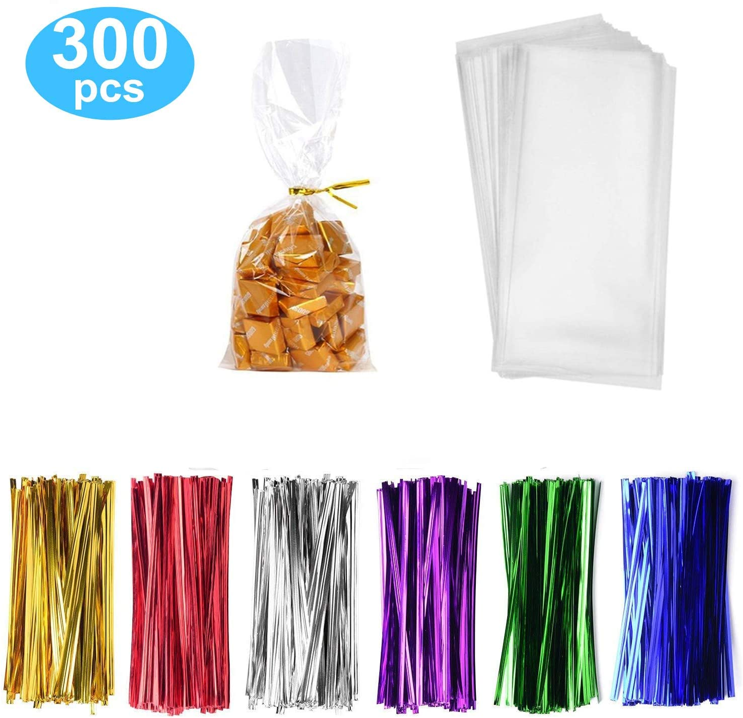 300 Pack Clear Candy Bags Clear Cellophane Bags 5