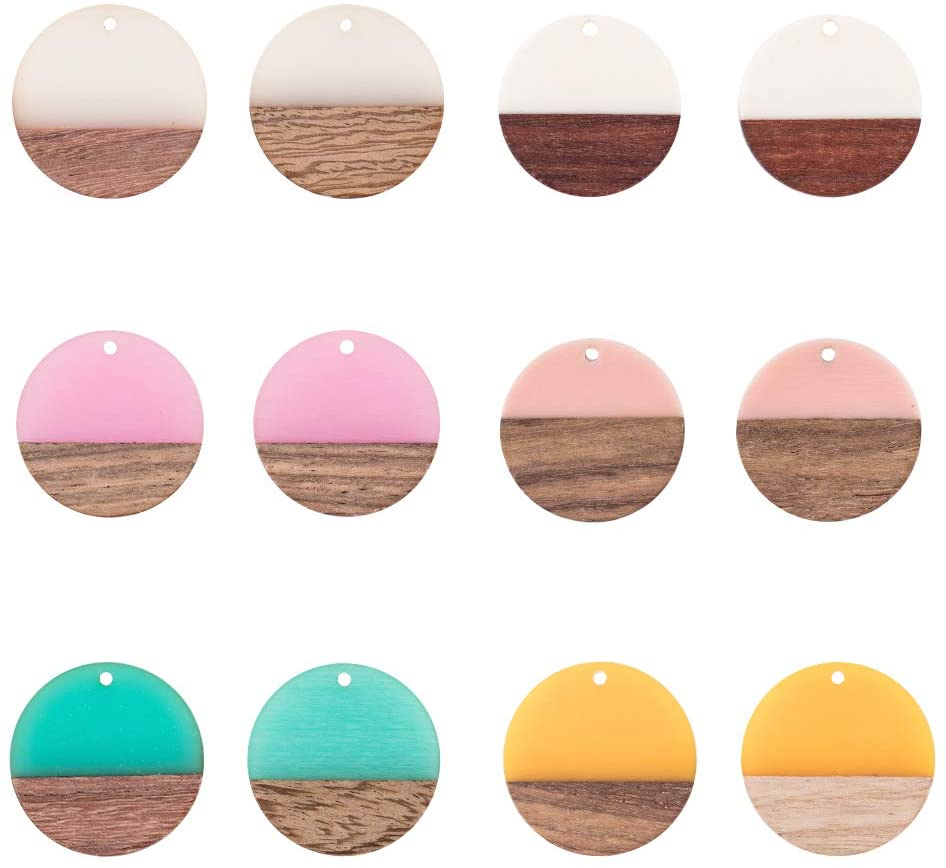 OLYCRAFT 12pcs Resin Wooden Earring Pendants Flat Round Vintage Resin Wood Statement Jewelry Findings for Necklace and Earring Making - Mixed Color