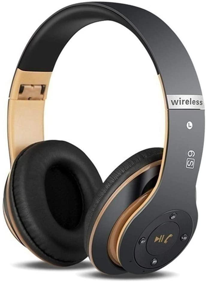 Binglinghua Bluetooth Headphones Wireless Bluetooth 4.0 Heavy Bass Stereo (Black Gold)