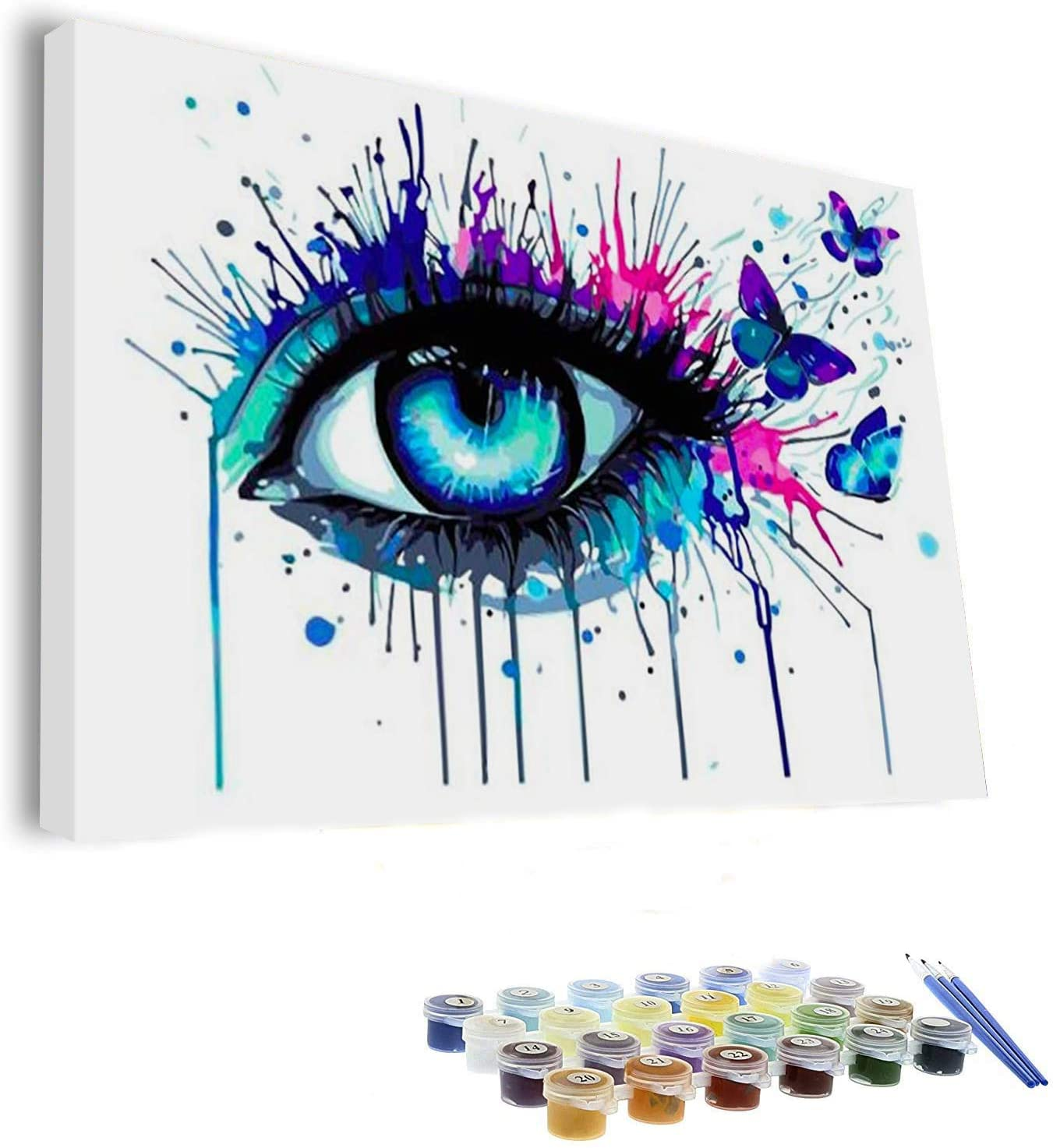 Paint by Numbers for Adults 20x16 inches Canvas, DIY with Family, Acrylic Wall Decor (Eye) (Fully Framed)