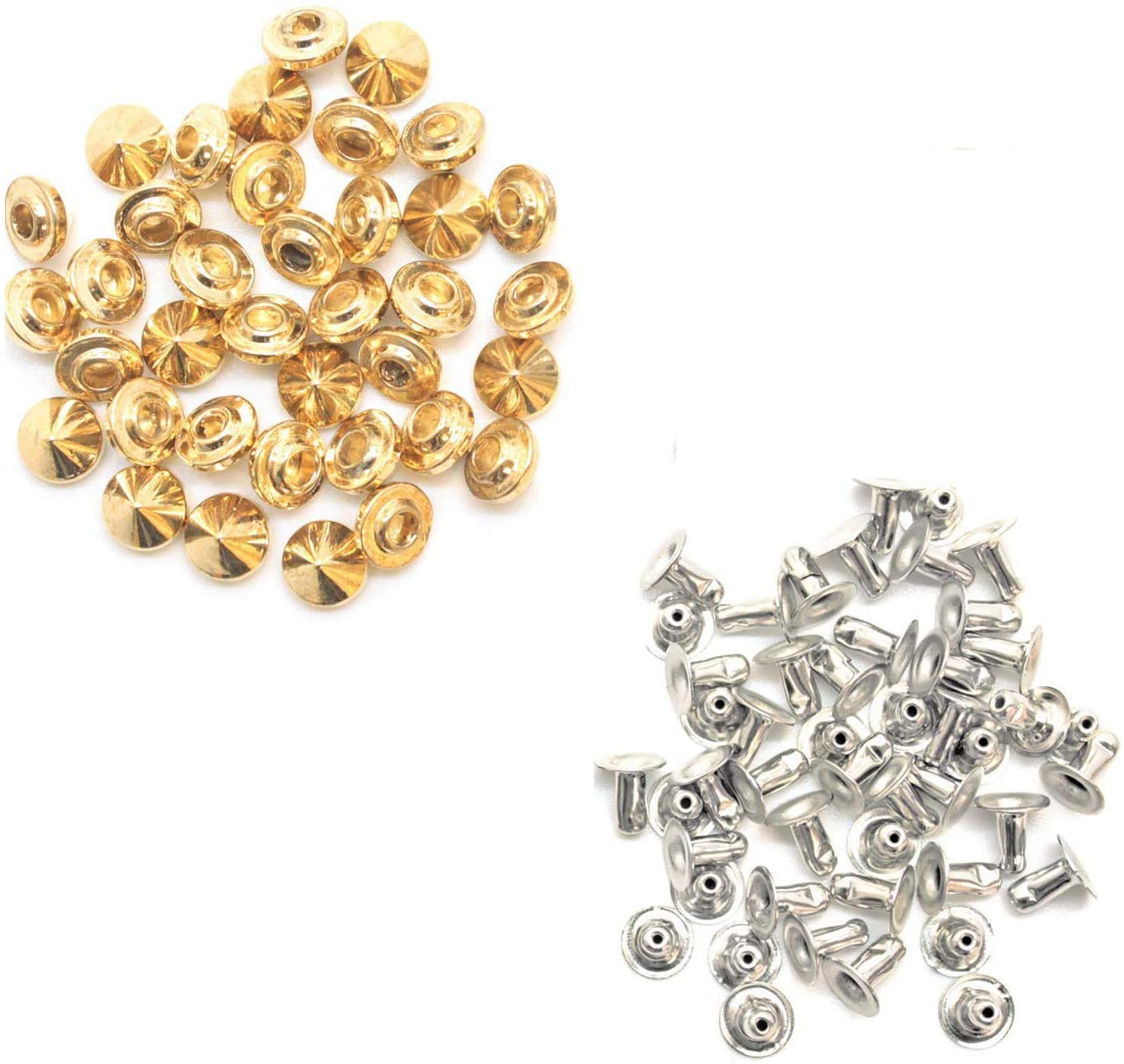 100 X 9Mm X 6Mm Brass Punk Cone Spike Studs with Pins Belt Bag Clothing Leather Craft
