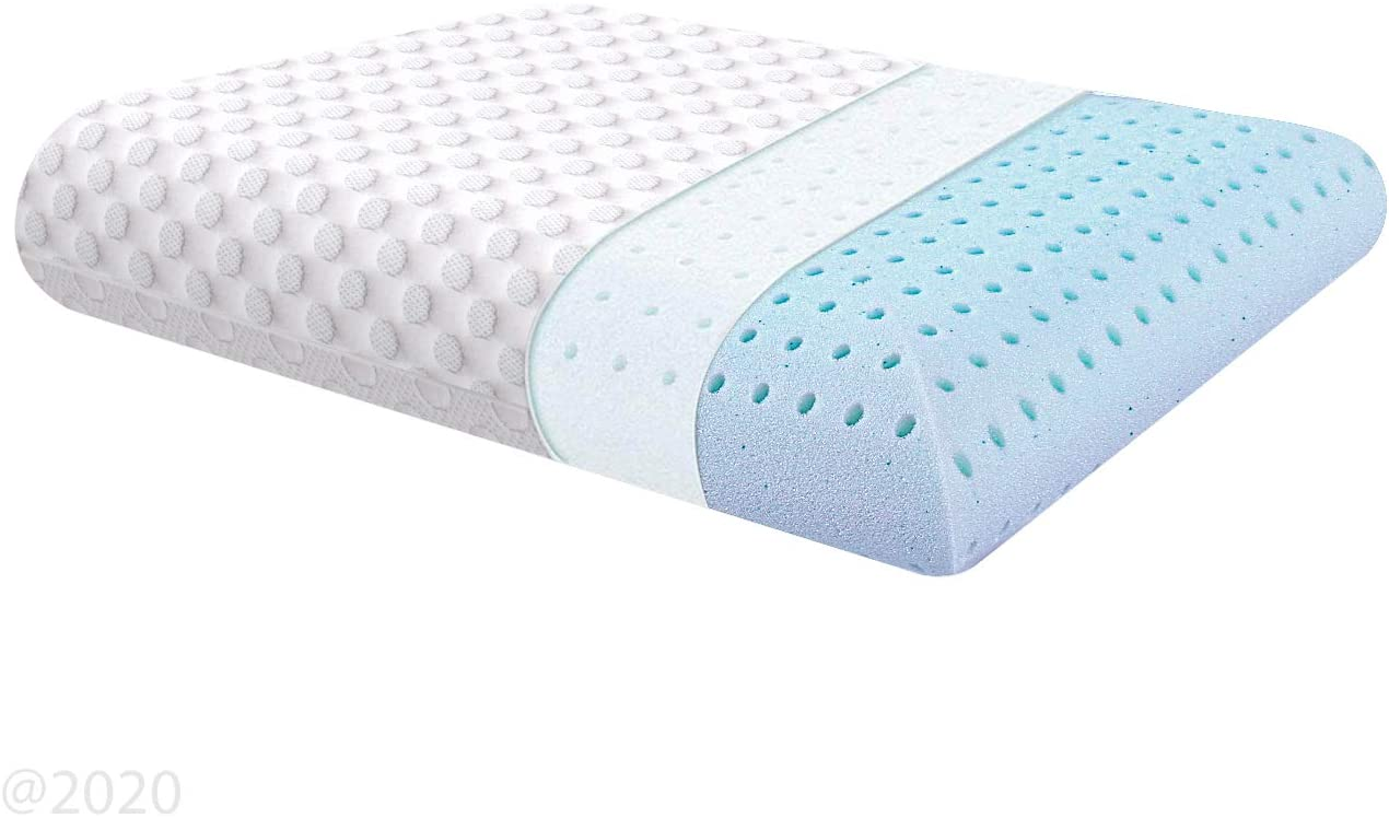 Milemont Ventilated Gel Memory Foam Pillow, Bed Pillows for Sleeping, Neck Support for Back, Stomach, Side Sleepers, CertiPUR-US, King Size