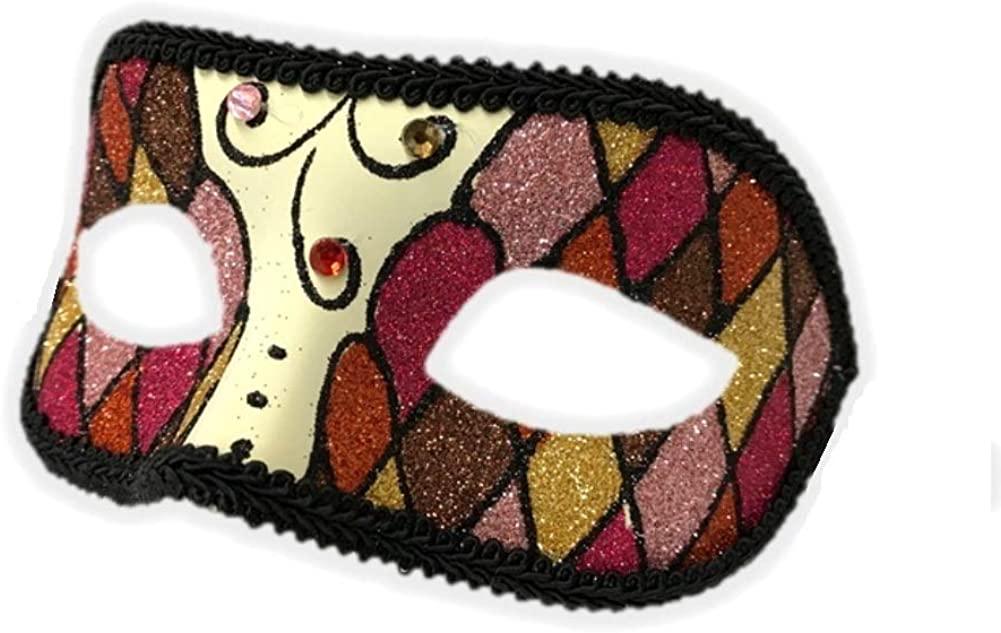 Argyle Glitter Half Mask Venetian Masquerade Costume Accessory Harlequin E