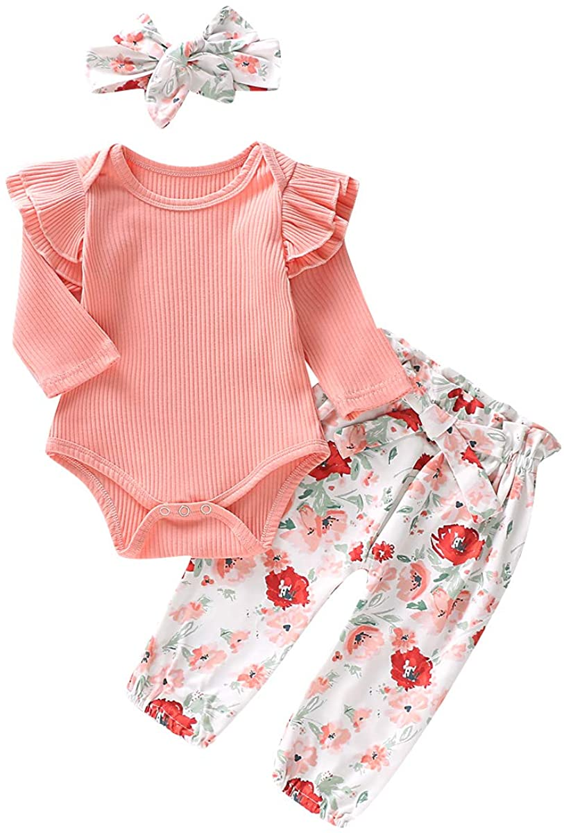 3PCS Infant Baby Girl Outfit Toddler Ruffle Romper Long Sleeve Bodysuit Floral Halen Pants Headband Clothes Set
