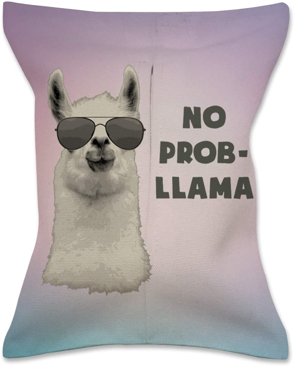 XREE Car Tissue Box Home Tissue Holder Canvas Cloth Art Container for Paper Tissue Packs - No Problem Llama