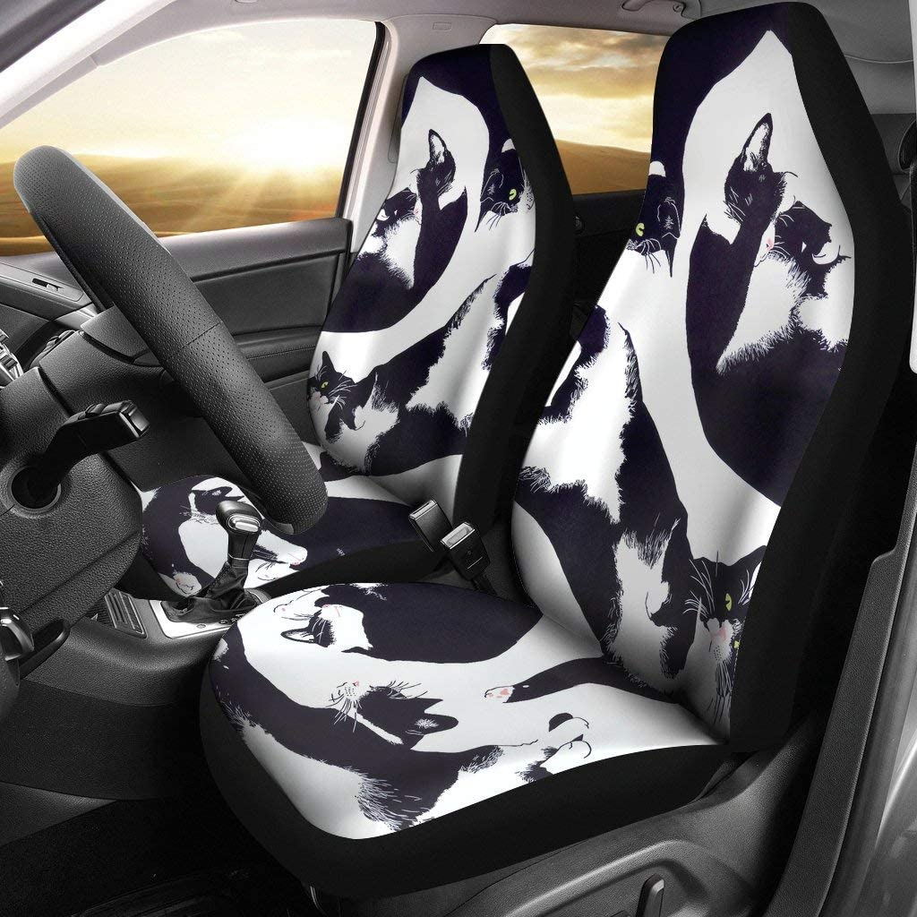 barn smile Cat Black and White - 2 Car seat Covers Designed for Quick and Easy Installation on Most car and SUV Bucket Style Seats – no Tools Required.