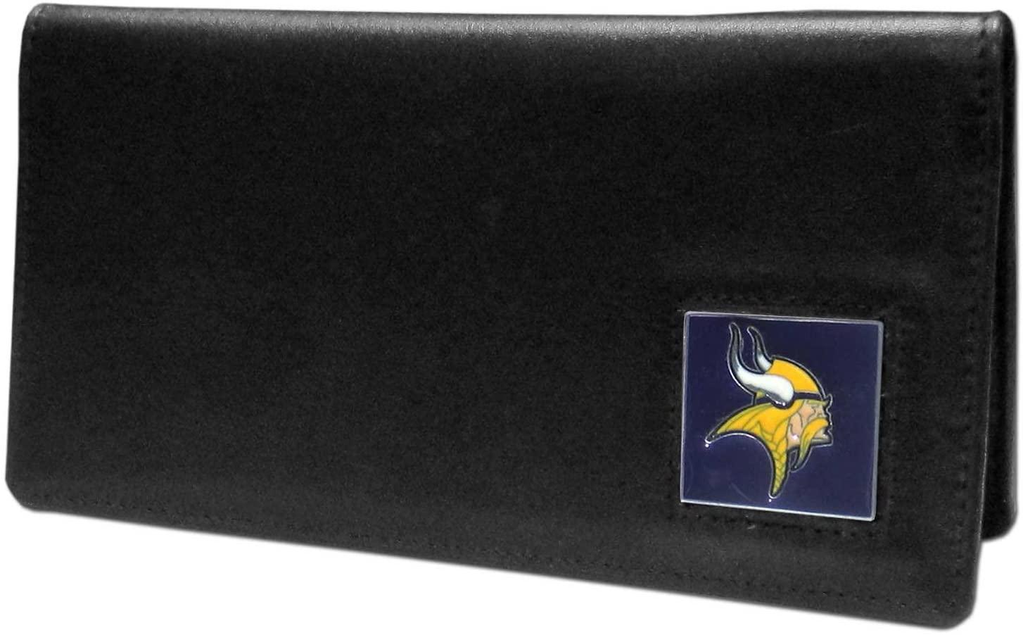 NFL Siskiyou Sports Fan Shop Minnesota Vikings Leather Checkbook Cover One Size Black