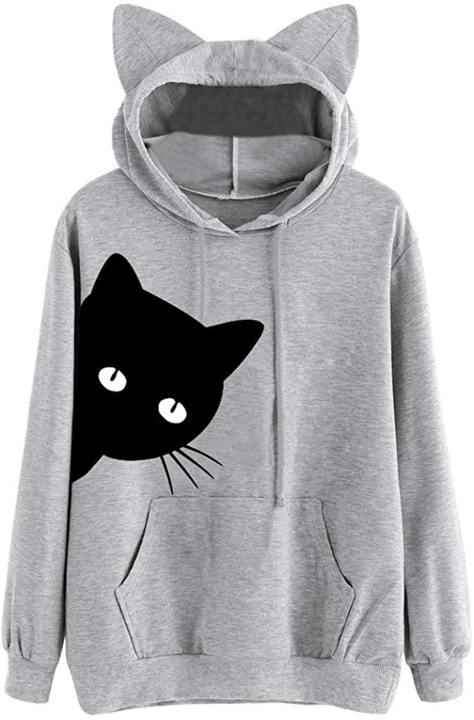 ZEFOTIM Womens Cat Print Long Sleeve Hoodie Sweatshirt Hooded Pullover Tops Blouse