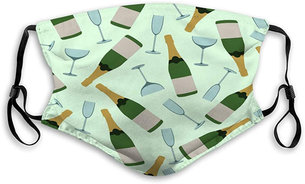 Xunulyn Safety Shield Reusable Outdoor Covers Seamless Pattern Champagne Glasses Bottles Travel Cover