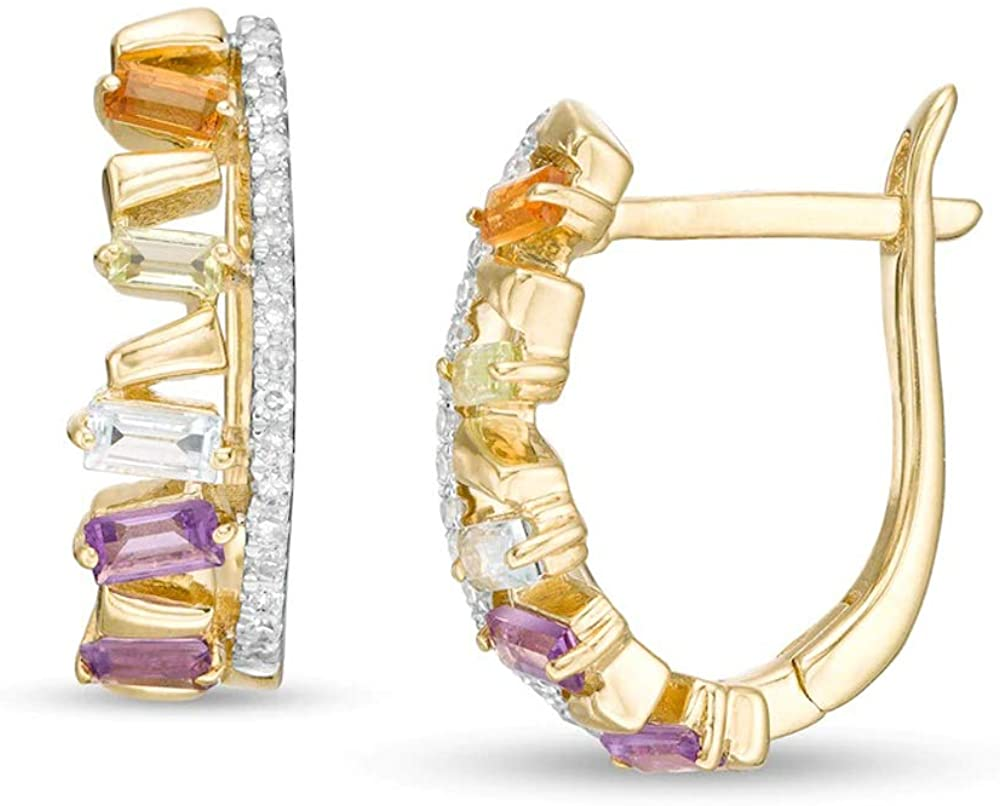 HN Jewels Baguette-Cut Sim Multi-Gemstone & 1/20 CT. Round Cut Sim Diamond Zig-Zag Hoop Earrings In 10K Yellow Gold Plated With 925