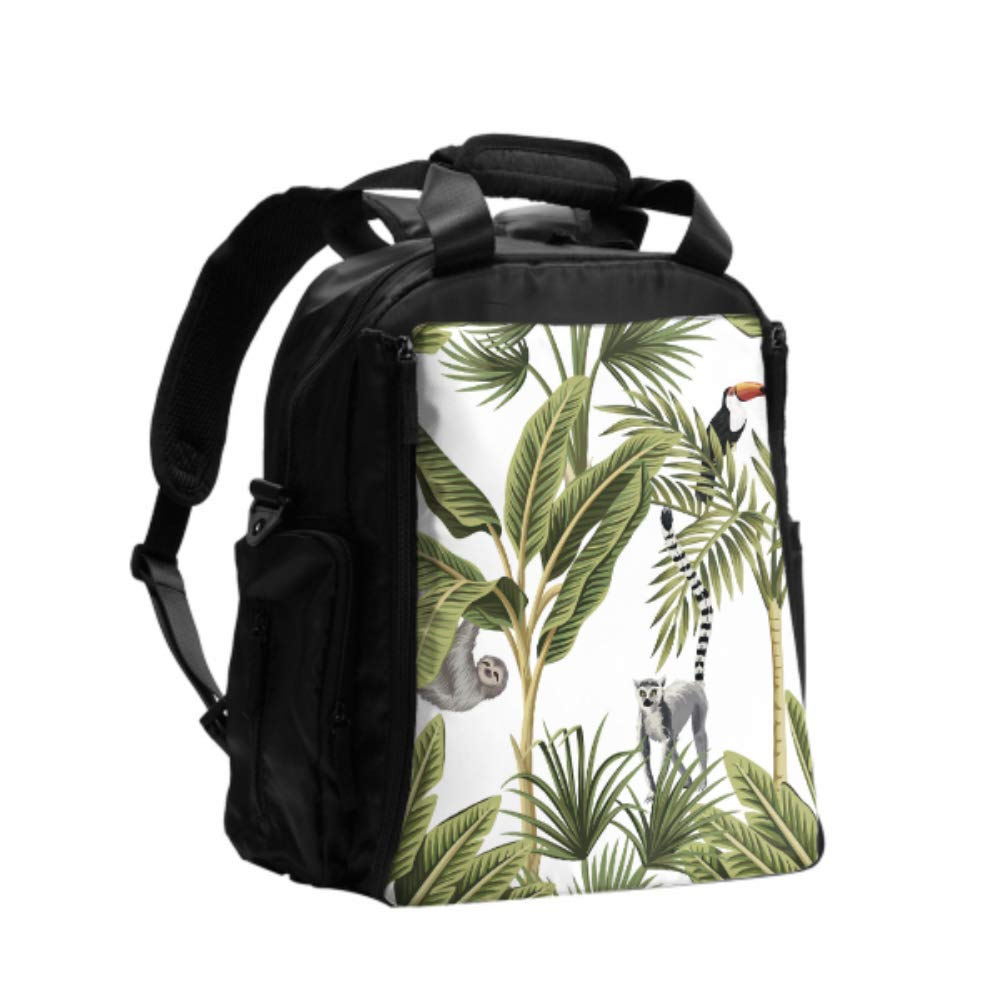 Diaper Bag Shoulder Cute Sloth Among Flowers and Leaves Print Diaper Bag Backpack Multifunction Travel Backpack with Diaper Changing Pad for Baby Care