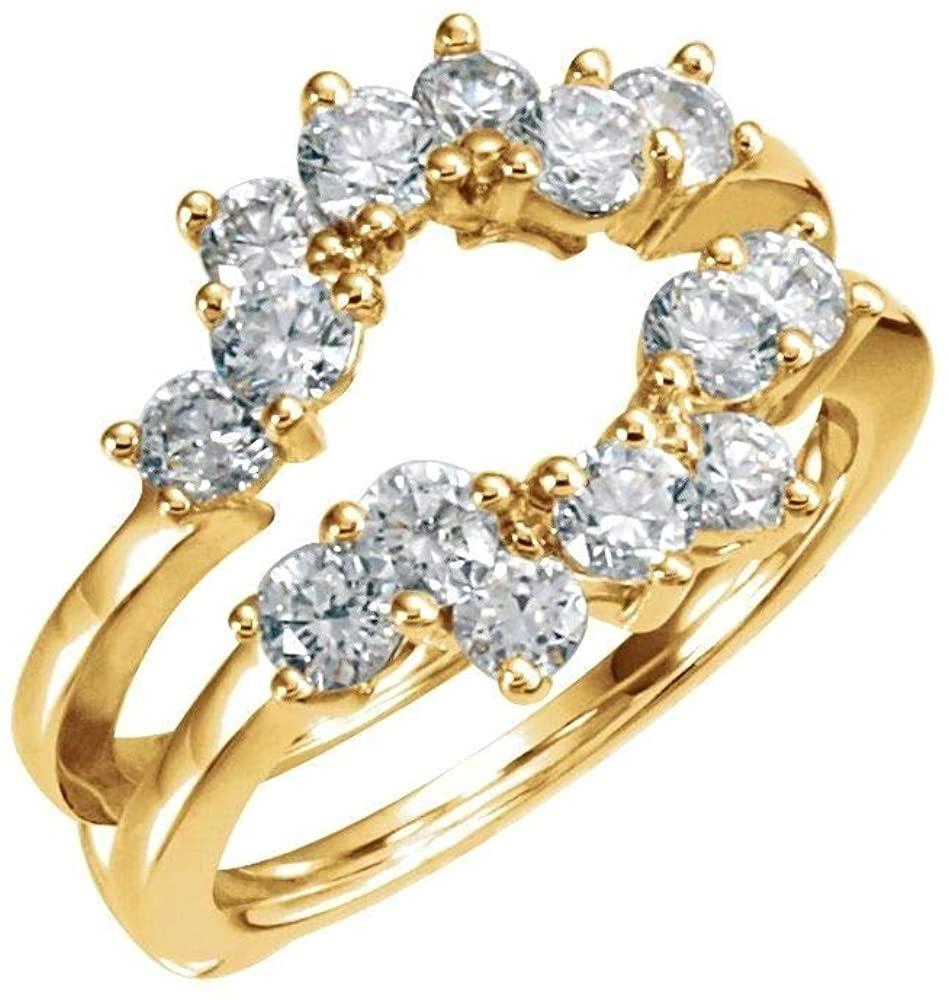 Bonyak Jewelry 14k Yellow Gold 1 1/4 CTW Diamond Ring Guard - Size 6