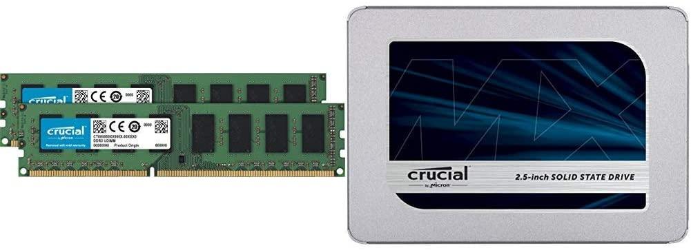 Crucial 16GB Kit (8GBx2) DDR3L 1600 MT/s (PC3L-12800) Unbuffered UDIMM Memory CT2K102464BD160B Bundle MX500 1TB 3D NAND SATA 2.5 Inch Internal SSD - CT1000MX500SSD1(Z)