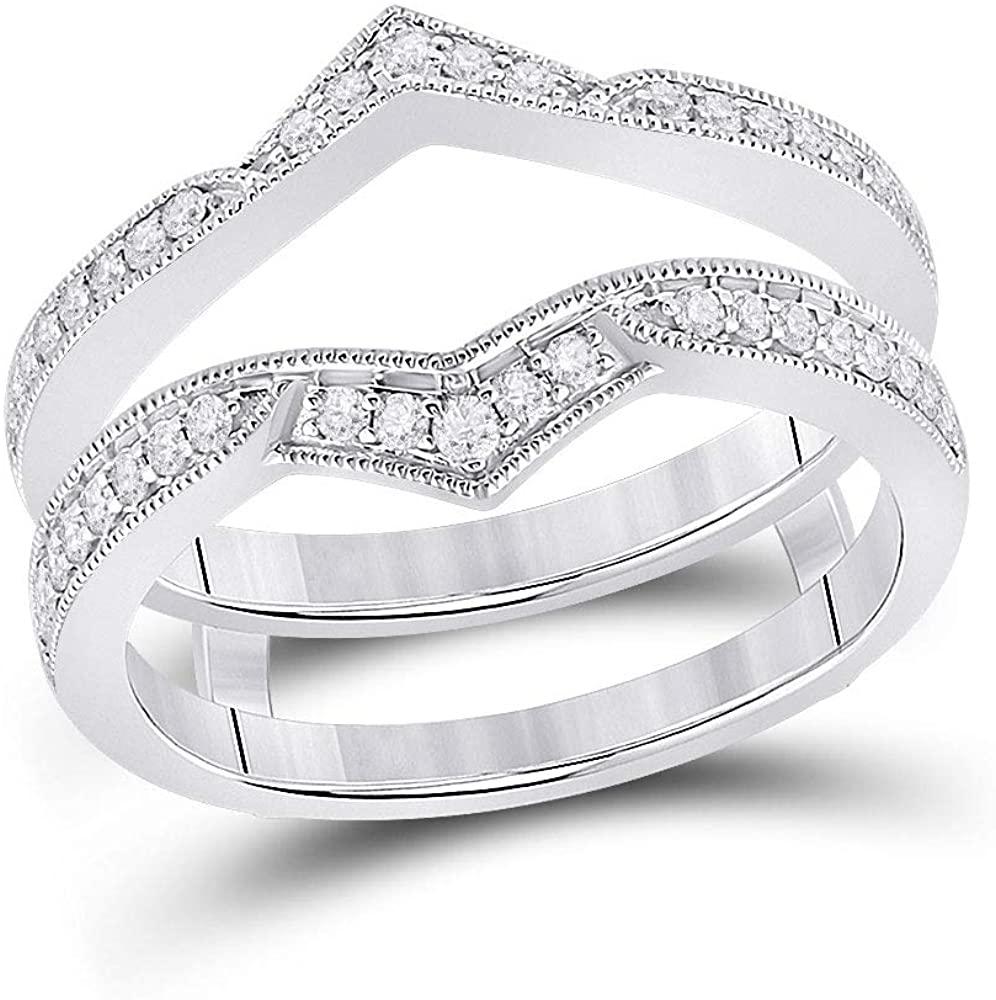 14kt White Gold Womens Round Diamond Wedding Wrap Band Ring Guard Enhancer 1/3 Cttw