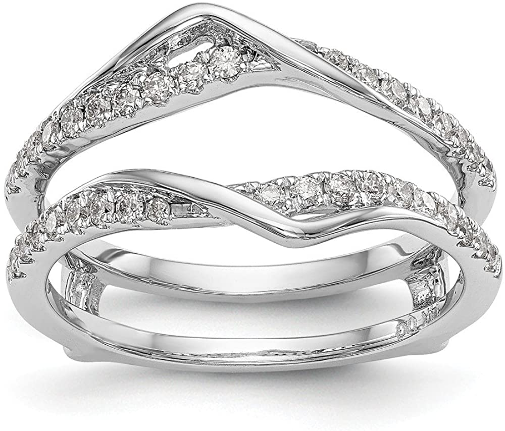 Solid 14K White Gold Engagement Wedding Ring Diamond Guard (Width = 10mm) (.328 cttw.)