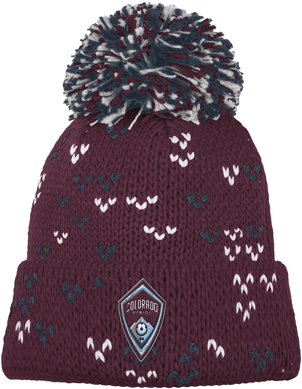 MLS Colorado Rapids Women's Fan Wear Cuffed Pom Knit Beanie, One Size, Maroon