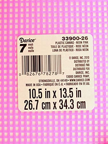 7 Mesh Count Neon Pink Plastic Canvas Sheet 10.5 x 13.5 Inch 1 Sheet