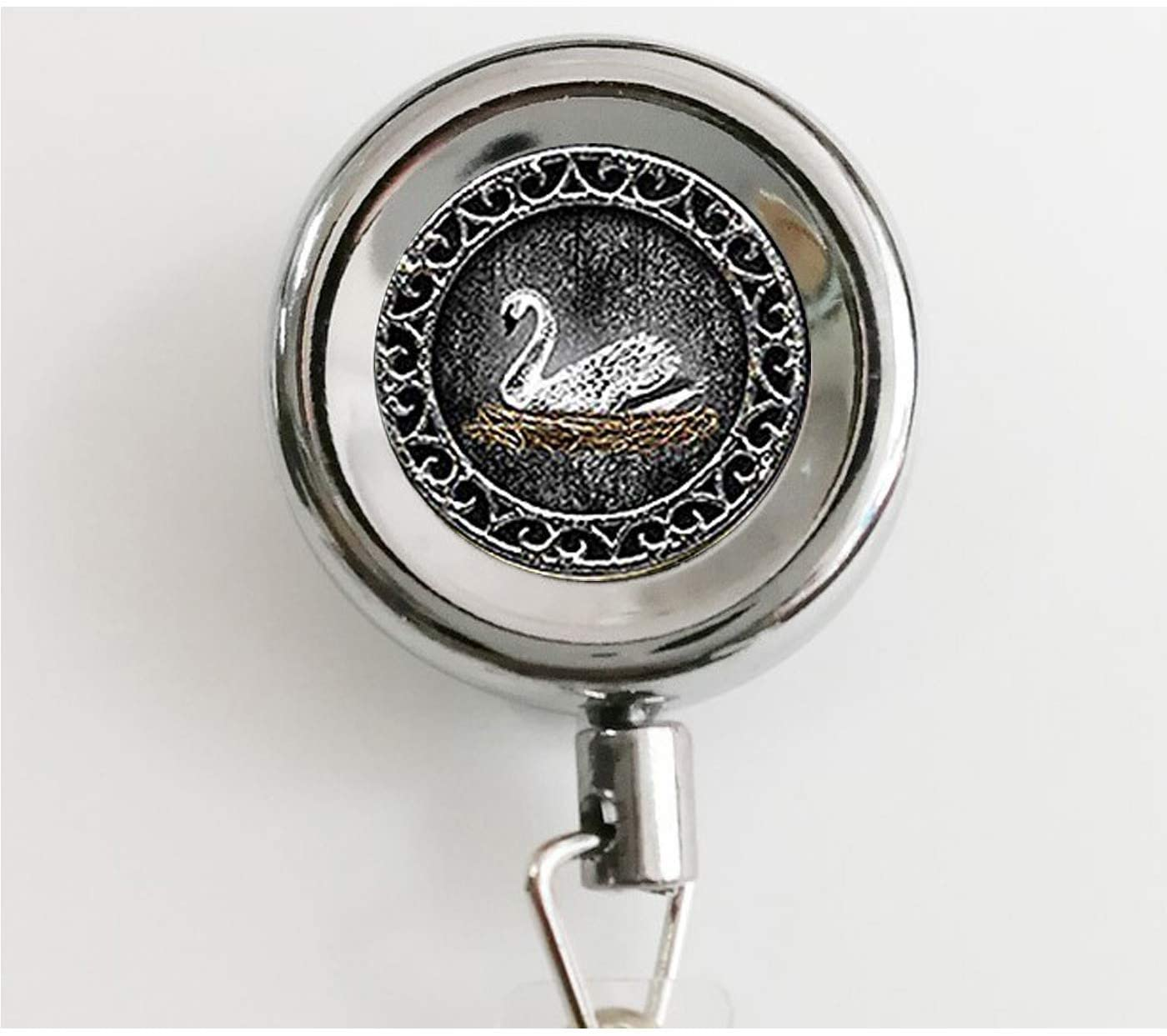 White Swan Keychain,Emma Swan Once Upon a Time Inspired Keychain,Swan Keychain Retractable Badge Reel with Waterproof ID Holders & Keychain