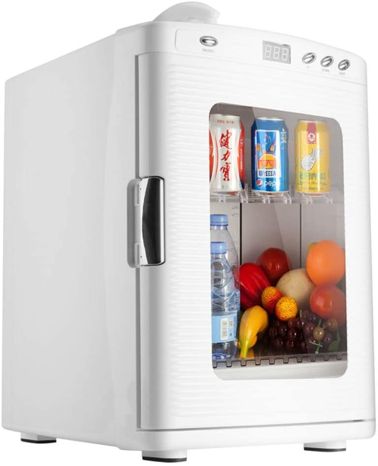 Car Refrigerator 25L Heating & Cooling Box with Visual Doors & Windows and Digital Thermostat Mini Fridge for Trips Homes (12V/220V)