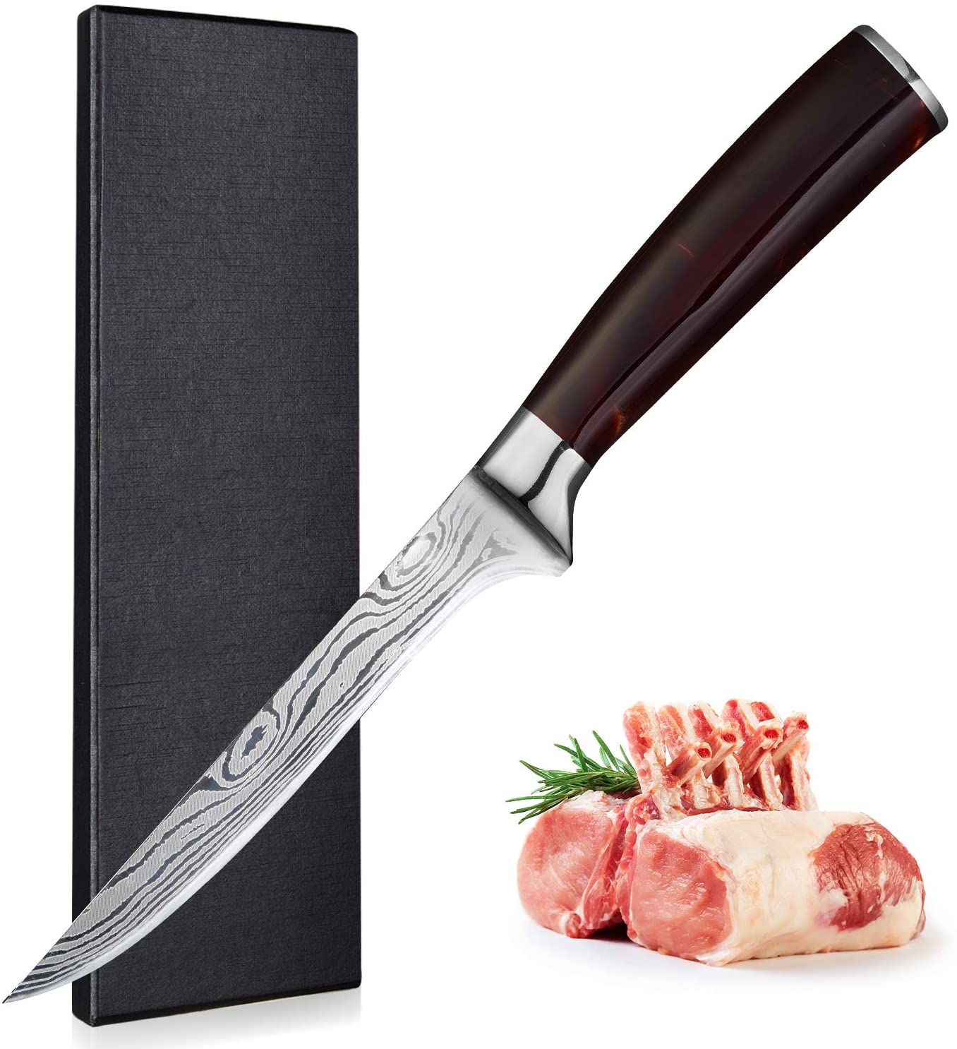 Boning knife - 6 Inch Flexible Fillet Knives 丨 German High Carbon Stainless Steel Kitchen Knife for deboning Meat Poultry Chicken, RESIN Handle with Gift Box